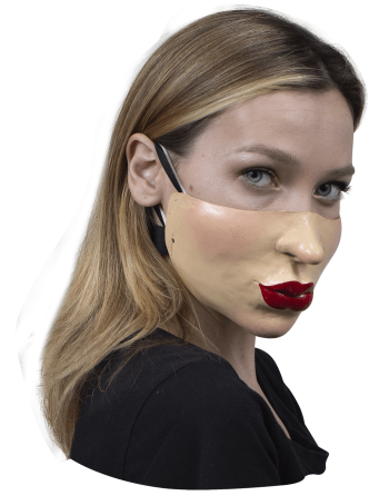 Cubrebocas látex labios rojos